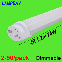 10 pieces/lot 24W LED TUBE BULB T8 4FT 120cm Replace to fluorescent fixture Compatible with inductive ballast Milky Clear cover