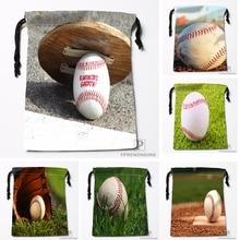 Custom The Baseball Drawstring Bags Travel Storage Mini Pouch Swim Hiking Toy Bag Size 18x22cm 0412