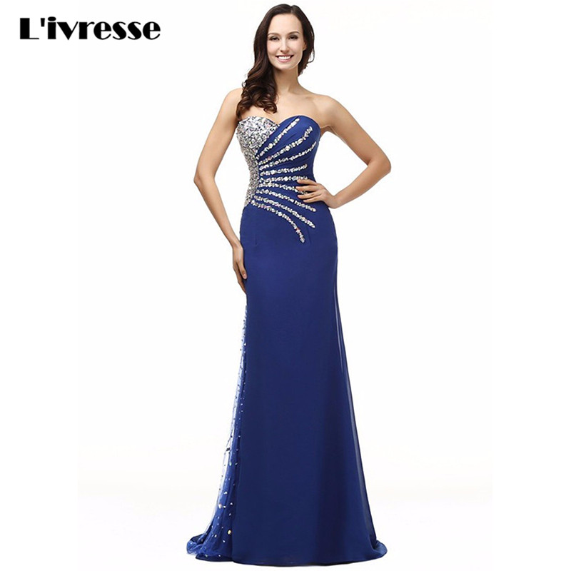 2017 In Stocks Sweetheart Chiffon Crystal Royal Blue Mermaid Evening Dress Long Vestido De Festa Sereia