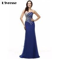 2016 In Stocks Sweetheart Chiffon Crystal Royal Blue Mermaid Evening Dress Long Vestido De Festa Sereia