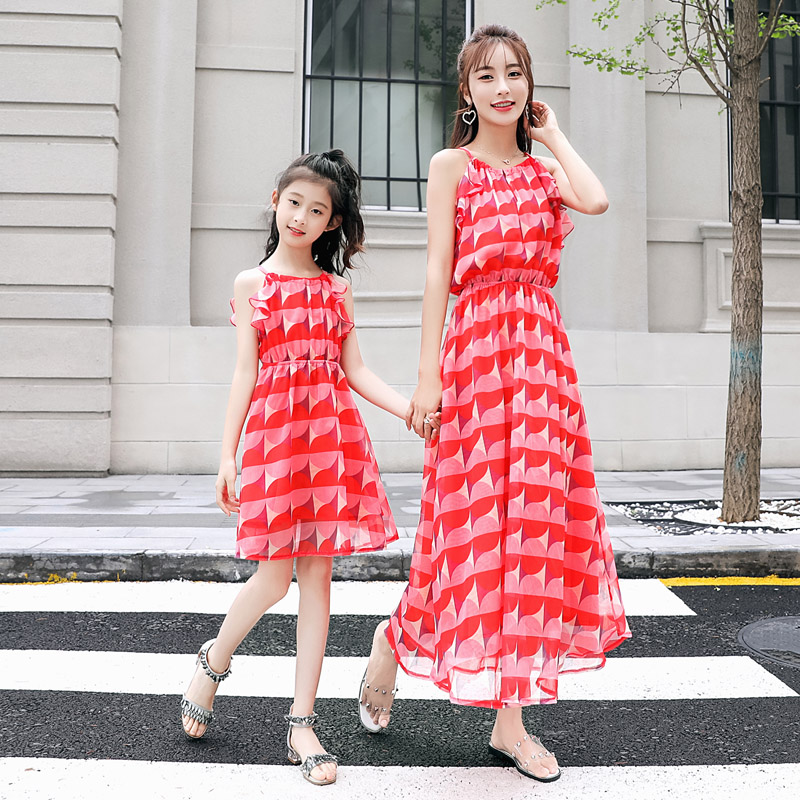 New Mother Daughter Dress Chiffon Sleeveless Happy Family Matching Dresses Mother Daughter Clothing Summer Dress