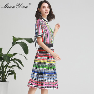 Image 4 - MoaaYina Fashion Designer Set Spring Summer Women Bow Short sleeve Stripe Print Indie Folk Shirt Tops+Skirt Two piece suit