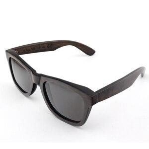 Image 3 - BOBO BIRD AG005a اليدوية خشب الأبنوس نظارة شمسية خشبية النساء الرجال العلامة التجارية تصميم خمر نظارات الموضة رمادي عدسات قطبية قبول OEM