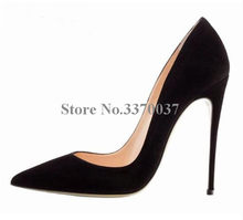 New Fashion Women Pointed Toe Suede Leather Pumps 10cm Classical Style Formal High Heels Dress Shoes High Quality Wedding Shoes(China)