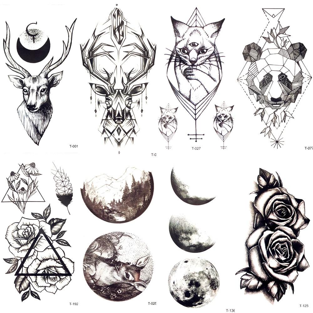 Tattoo Art Black And White: Geometric Black Moose Deer Cats Temporary Tattoo Men Body
