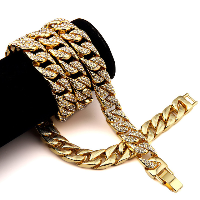 """24k Gold Finish 15mm 30"""" Iced Out Hip Hop  Jewelry Cz Chain Necklace Mens Miami Cuban High Quality Fashion Design  Men Women"""