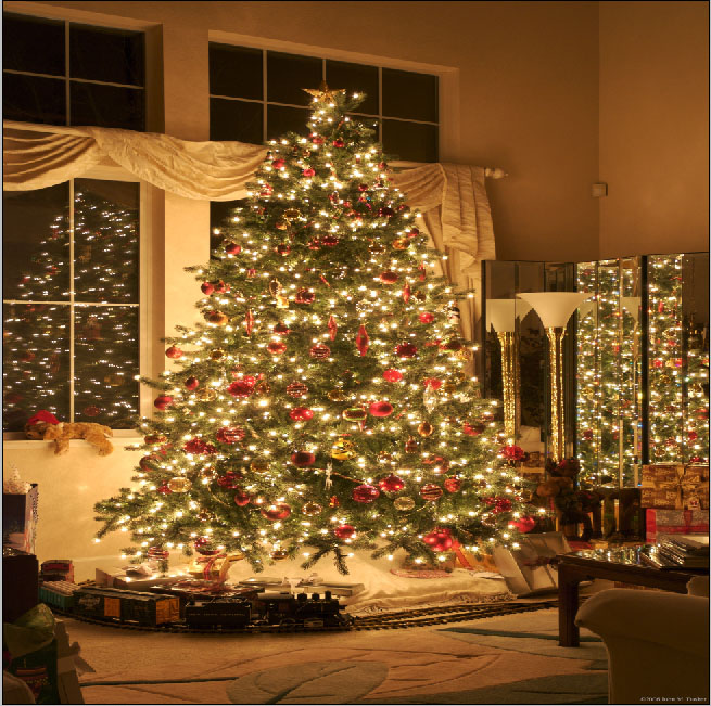 3d Vinyl Wallpaper Snow 10x10ft Glitter Christmas Tree Lights Living Room Small