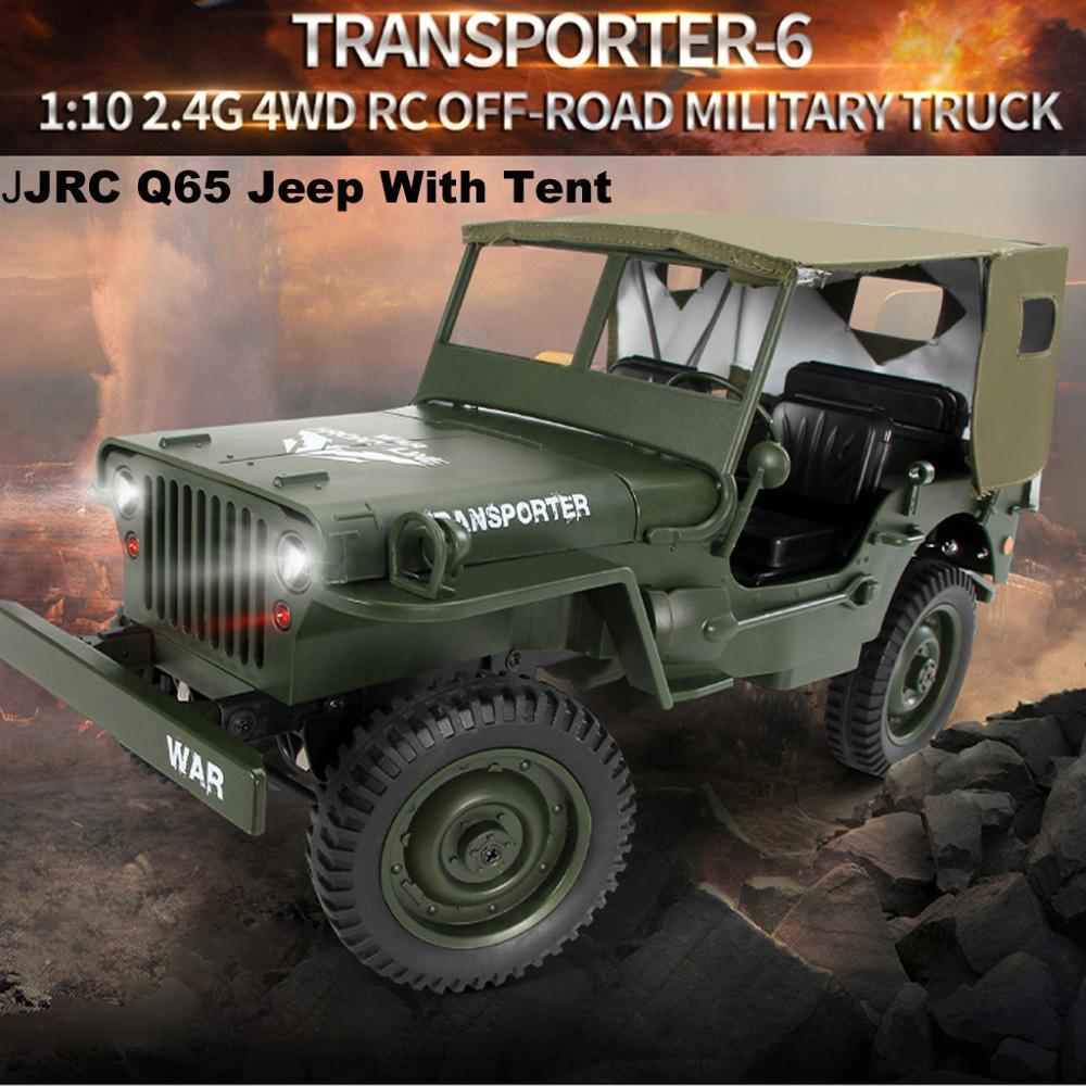 4WD RC camion 1:10 Mini Jeep militaire télécommande Buggy tout-terrain avec tente carros de contrôle de corrida fs RC troncs