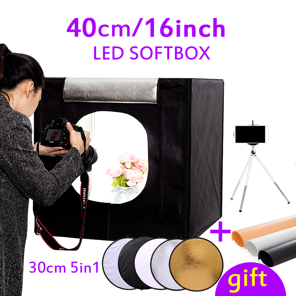 CY 40*40*40cm 16light Photo box Soft box Mini photo studio photograghy Softbox Led Photo Lighting Studio Shooting Tent Box Kit 40cm 40cm studio soft box led shooting light tent photo led light box lichtbak photo tent set portable soft cloth 3 backdrop