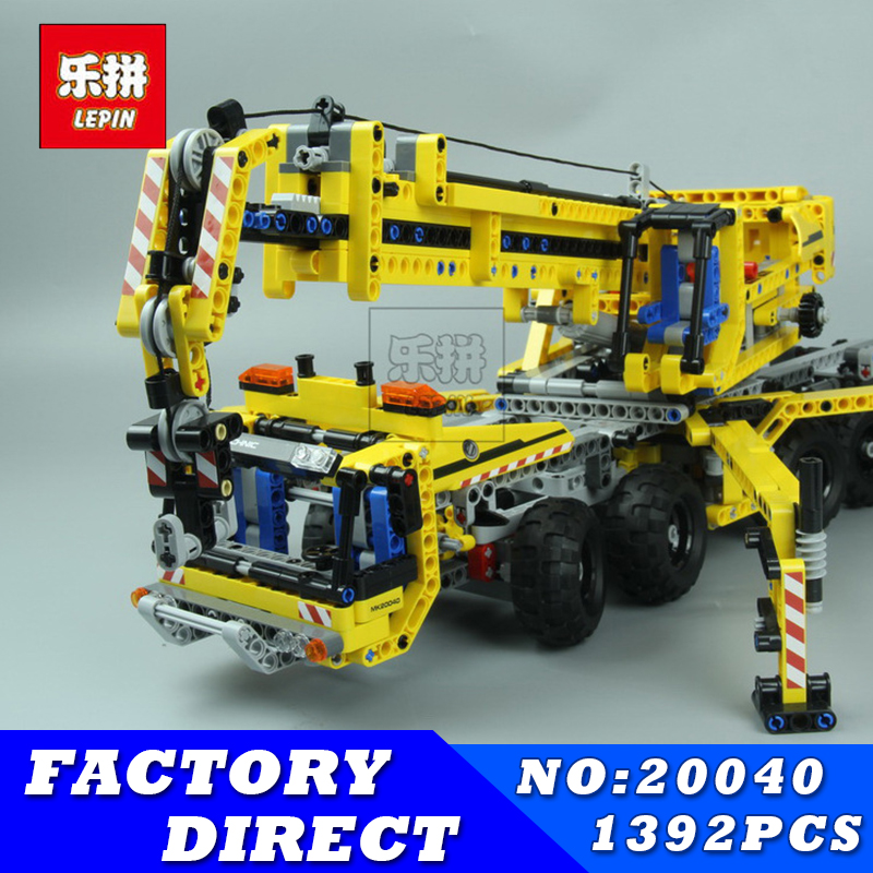 цены LEPIN 20040 1392Pcs Technic Mechanical Series Moving Crane Set Building Blocks Educational Bricks Toys Model Children Gift 8053