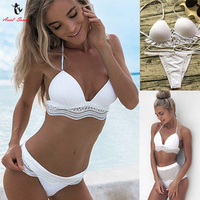 Ariel Sarah White Lace Bikini Set Sexy Solid High Waist Swimwear Women Swimsuit Bandage Bikini Push