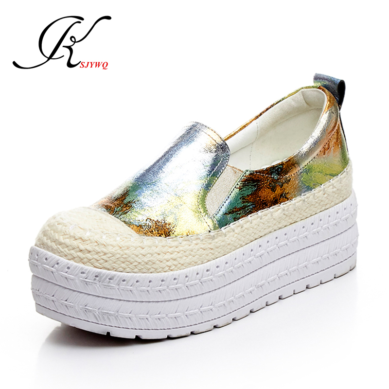 KSJYWQ 2017 Flat Platform Shoes Genuine leather Gold Loafers Summer 5 CM Waterproof Slip-on Shoes Woman Size 39 Box Packing H827 phyanic 2017 gladiator sandals gold silver shoes woman summer platform wedges glitters creepers casual women shoes phy3323