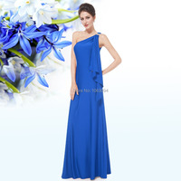 HE09463 Free Shipping Gorgeous Blue One Shoulder Diamantes Long Evening Dress
