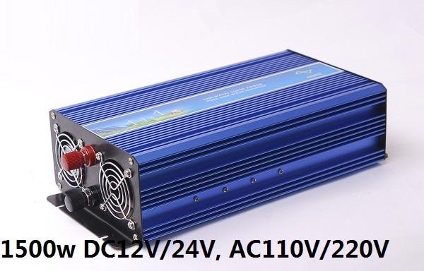цена на household 1500W Pure Sine Wave Power Inverter DC 12V/24V TO AC 110V/220V (digital display peak power 3000W inverter)