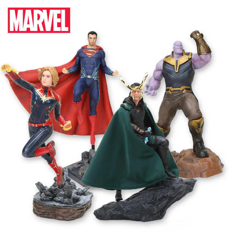 22-27cm Marvel Toys Avengers 4 Endgame PVC Action Figures Loki Thanos Ironman Spiderman Danvers Captain Marvel Collectible Model(China)