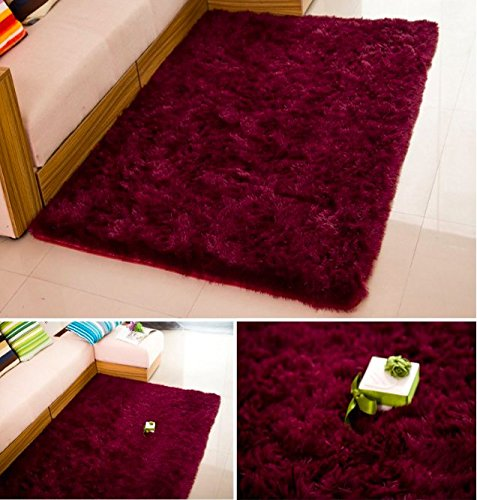 Super Soft Silk Wool Indoor Rug Wine Red