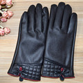 Fashion Leather Gloves For Women Winter Gloves for girls Lady's Mittens keep Warm fur inside