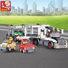 Купить с кэшбэком Sluban 638pcs Track Truck Racing 3D Building Blocks baby Toys Bricks Kids Gift Action Figure compatible lepin buiding bricks