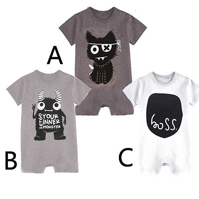 Newborn Kids Baby Boy Girl Cotton Monster Romper Jumpsuit Clothes Baby Romper
