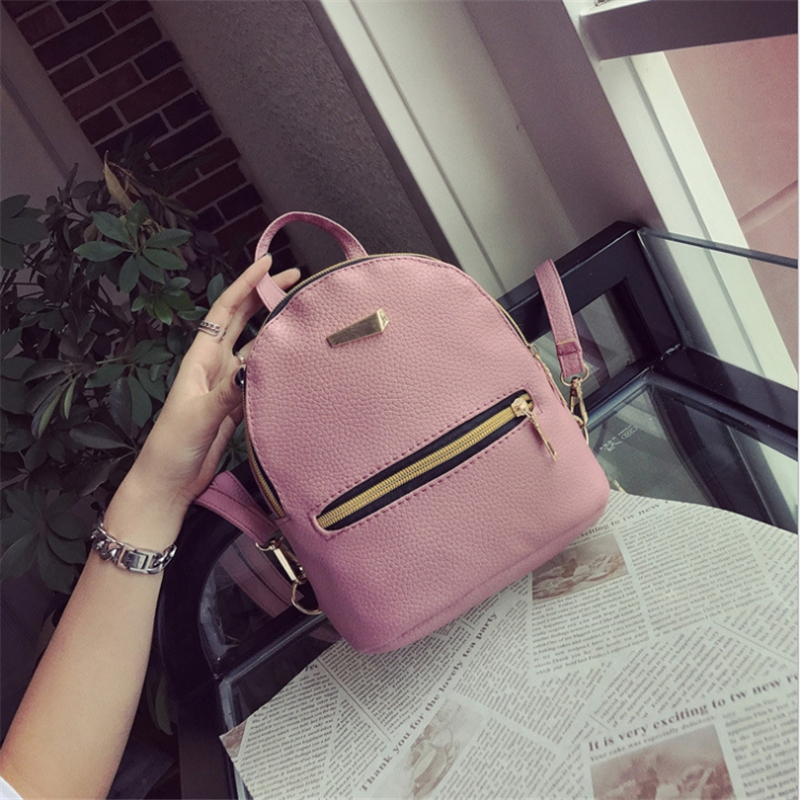 9a66c244679a New Letter Iron Women Backpack Solid Color Mini Leather Backpack ...