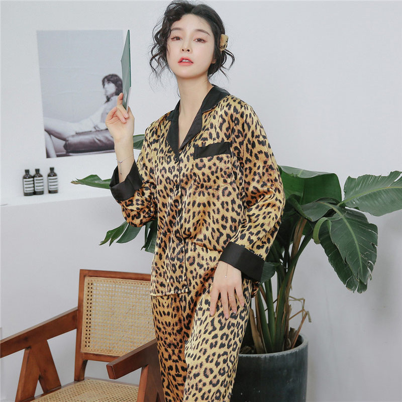 spring summer sexy leopard satin pajamas women home set sleepwear Turn down collar long sleeved trousers 2 pcs pajamas stitching in Pajama Sets from Underwear Sleepwears