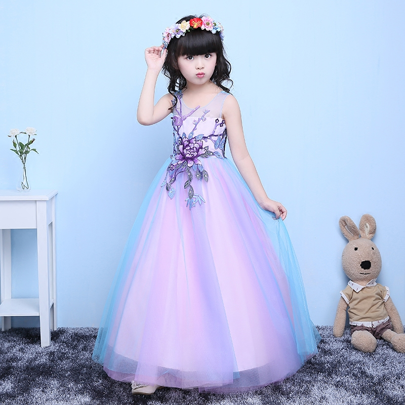 2017 Girls party wear clothing for children summer sleeveless lace princess wedding dress girls teenage well party prom dress 00009 red gold bride wedding hair tiaras ancient chinese empress hair piece