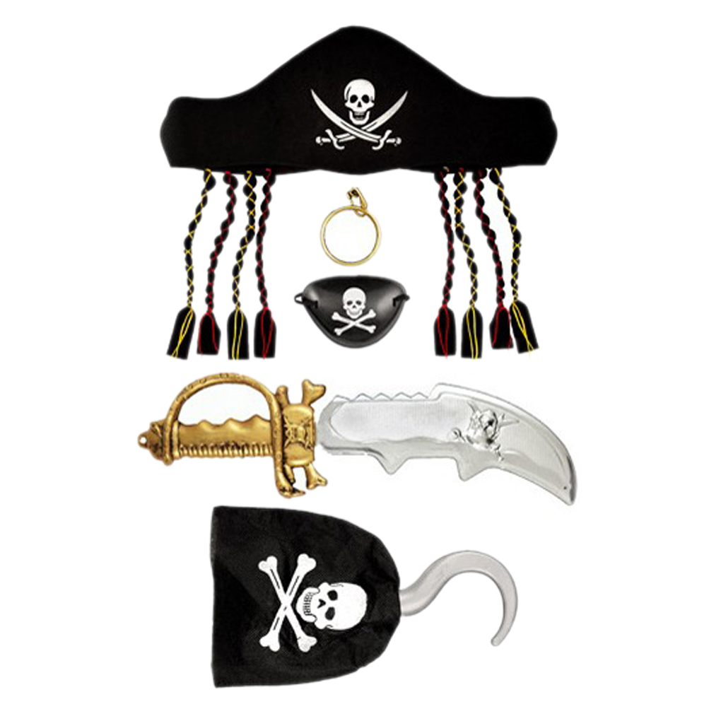 2018 1 Set Halloween Kids Captain Pirate Set With Hat & Hair Hook Sword Eye Patch Earring For Women Man