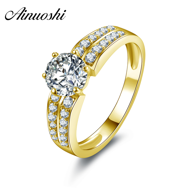 AINUOSHI 10k Solid Yellow Gold Women Engagement Ring Anelli Donna Wedding Jewelry 0.8ct Round Cut 2 Row Drill Engagement RingAINUOSHI 10k Solid Yellow Gold Women Engagement Ring Anelli Donna Wedding Jewelry 0.8ct Round Cut 2 Row Drill Engagement Ring