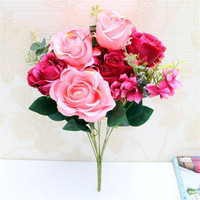 European Fake Rose & Hydrangea Bunch (11 stems/piece) Simulation Oil Painting Roses with foam Fruit for Wedding Centerpieces