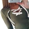 Женщины Футболка Sexy Длинным Рукавом V-образным Вырезом футболки Sexy Women Lace-Up Топы Тис LJ5270M