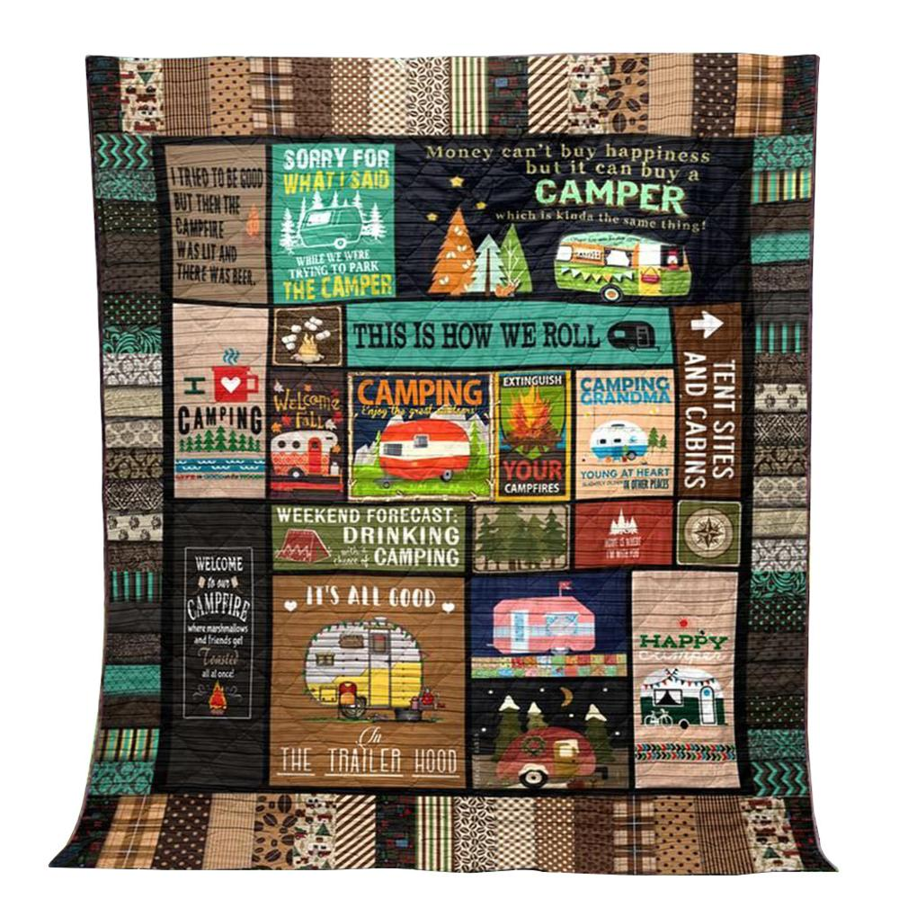 Camping travel blanket 96cmx114cm This Is How We Roll letter Quilt To Do The Air Conditioning throw bed covers