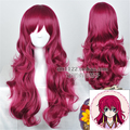 New! Akatsuki no Yona Japanese Anime Figures Yona princess Wine Red Long Wavy Curly Hair Wig Cosplay Wigs Free Shipping