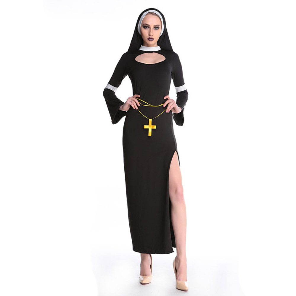Free Shipping Black Color Long Dress Design Nun Costumes For Cosplay