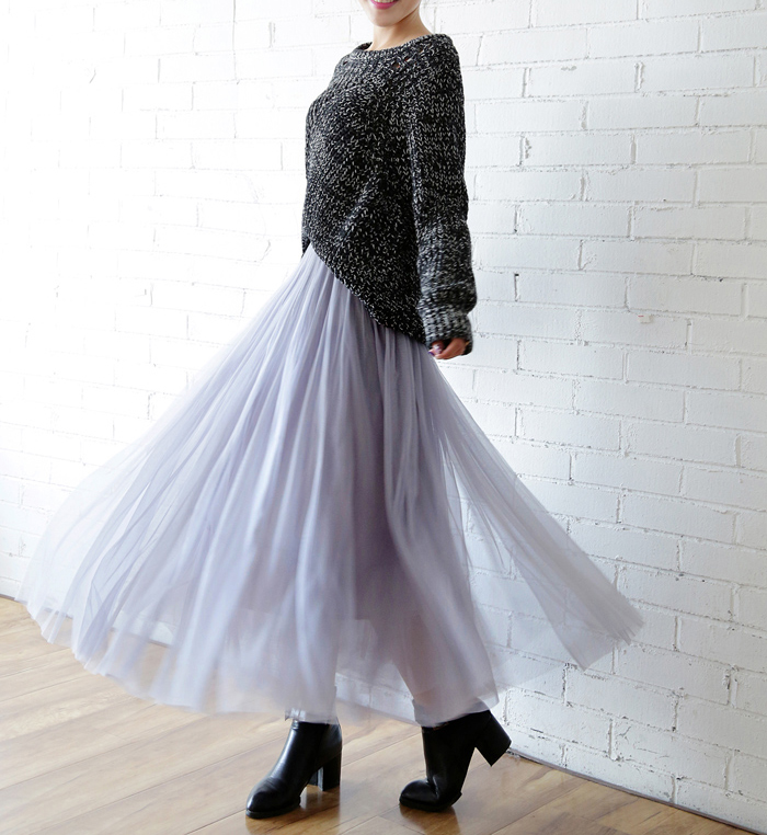 OHRYIYIE 19 Autumn Winter Vintage Skirts Womens Elastic High Waist Tulle Mesh Skirt Long Pleated Tutu Skirt Female Jupe Longue 5