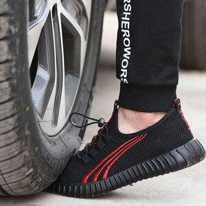 Image 2 - を 2019 新安全男性の夏の通気性作業靴軽量抗スマッシング靴男性工事メッシュスニーカー