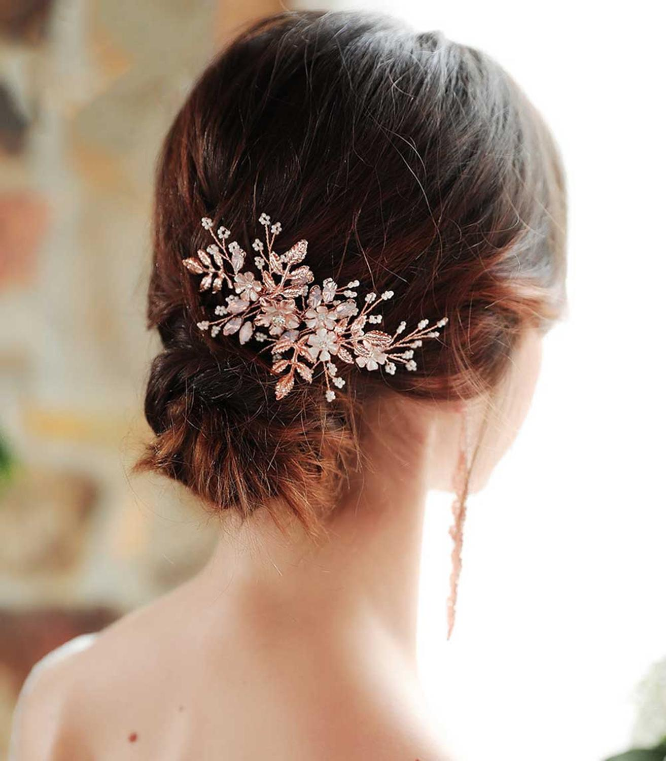 Rose Gold Wedding Hair Comb 2019 Alloy Flowers Opal Crystals Ivory Pearls Bridal Hair Accessories Decoration Jewelry Hair Piece