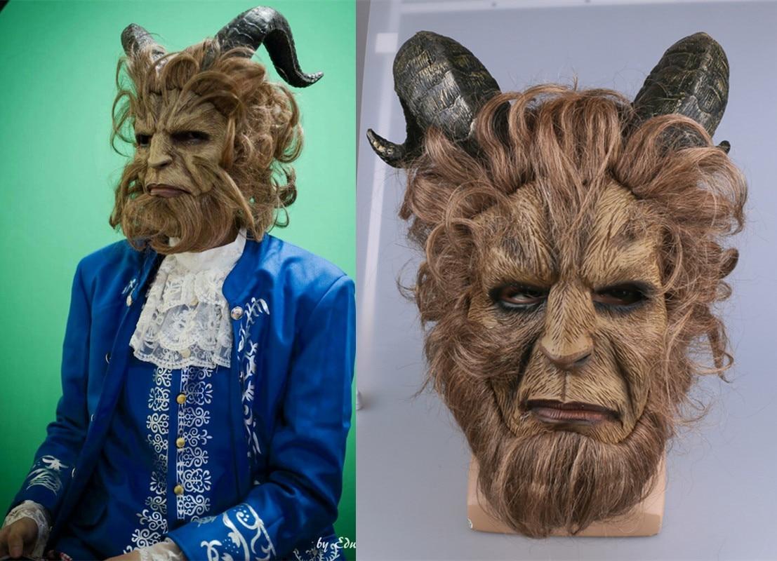 1:1 New Movie Beauty and The Beast Adam Furry Mask  Prince Horn Curly Hair Helmet Movie Dan Stevens Prop