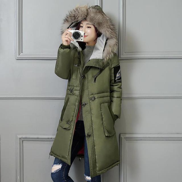 Warme Vrouwelijke Winterjas.Mid Lange Legergroen Militaire Parka Winterjas Vrouwen Grote