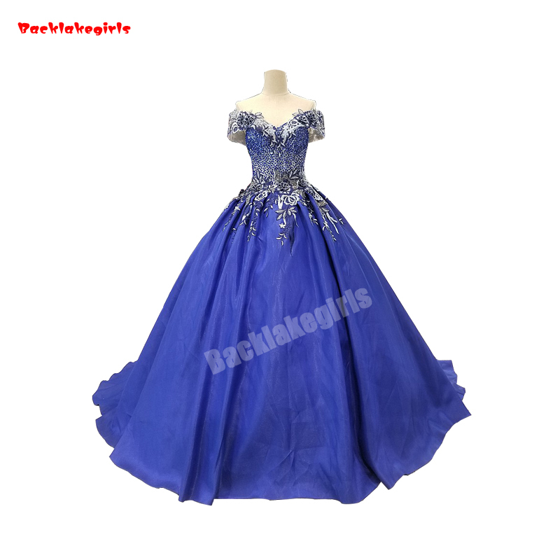 1099 Royal Blue Wedding Dresses 3D Flower Lace With Pearls French Lace Flower Ball Gown