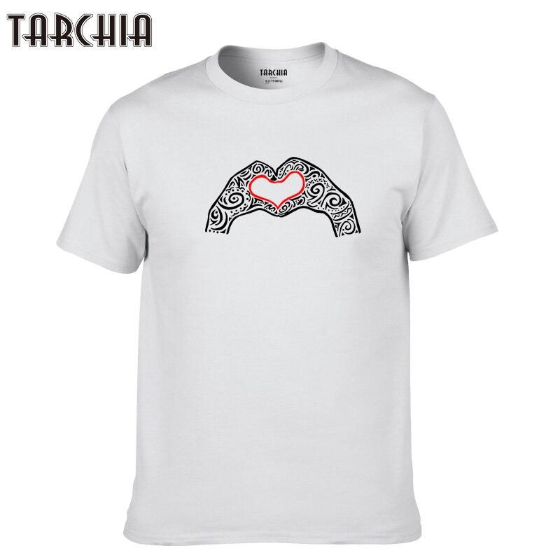 TARCHIA 2019 new summer brand hand love t-shirt cotton tops tees men short sleeve boy casual homme tshirt t plus fashion