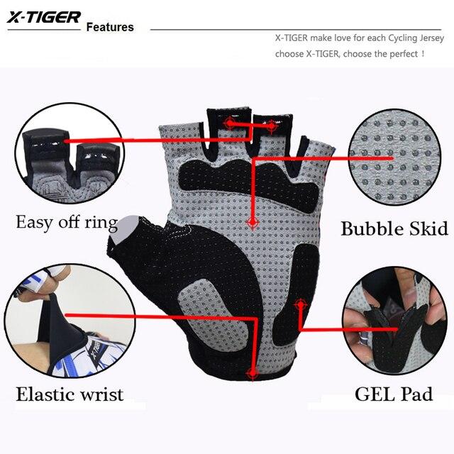 X-tiger alta qualidade hexágono 3d gel à prova de choque luvas esportivas metade dedo mtb luvas de bicicleta ciclismo luvas de equitação da bicicleta 3