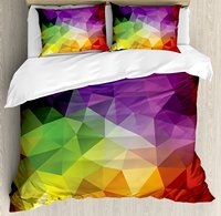 Duvet Cover Set, Colorful Abstract Geometric Shapes with Triangular Polygons Creative Artistic, 4 Piece Bedding Set