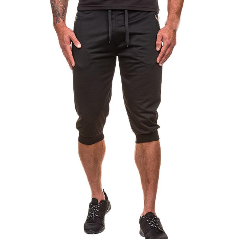 Mens Shorts Summer M-6XL Breathable Male Bermuda Solid Elastic Waist Casual Short Pants Fashion Knee Length,