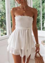 цена на 2019 white hollow out dress Slash Neck Vintage tie wrap front Mini Dress Ruffled Summer Dress Sleeveless vestidos