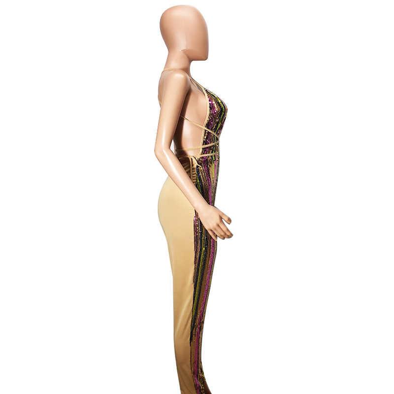 Beyprern сексуальный Холтер v-образный вырез с открытой спиной Радужные Блестки Комбинезоны женские блестящие Рождественские комбинезон для вечеринки комбинезон Клубная одежда