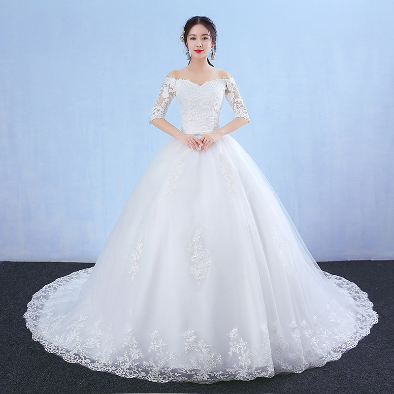do dower Elegant Boat Neck Lace Wedding Dress Gown