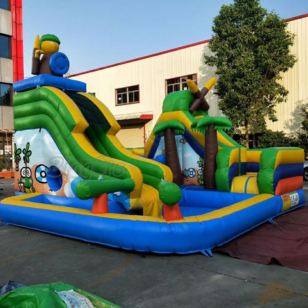 Commercial Outdoor Hot Selling Inflatable Water Slide Kids Playground Slide With Pool цена