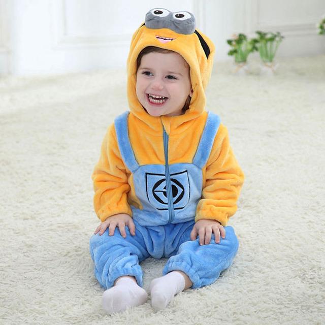 Minions roupa do bebê Romper infantil traje 2016 nova primavera com capuz flanela criança Romper infantil macacão traje do bebê roupas