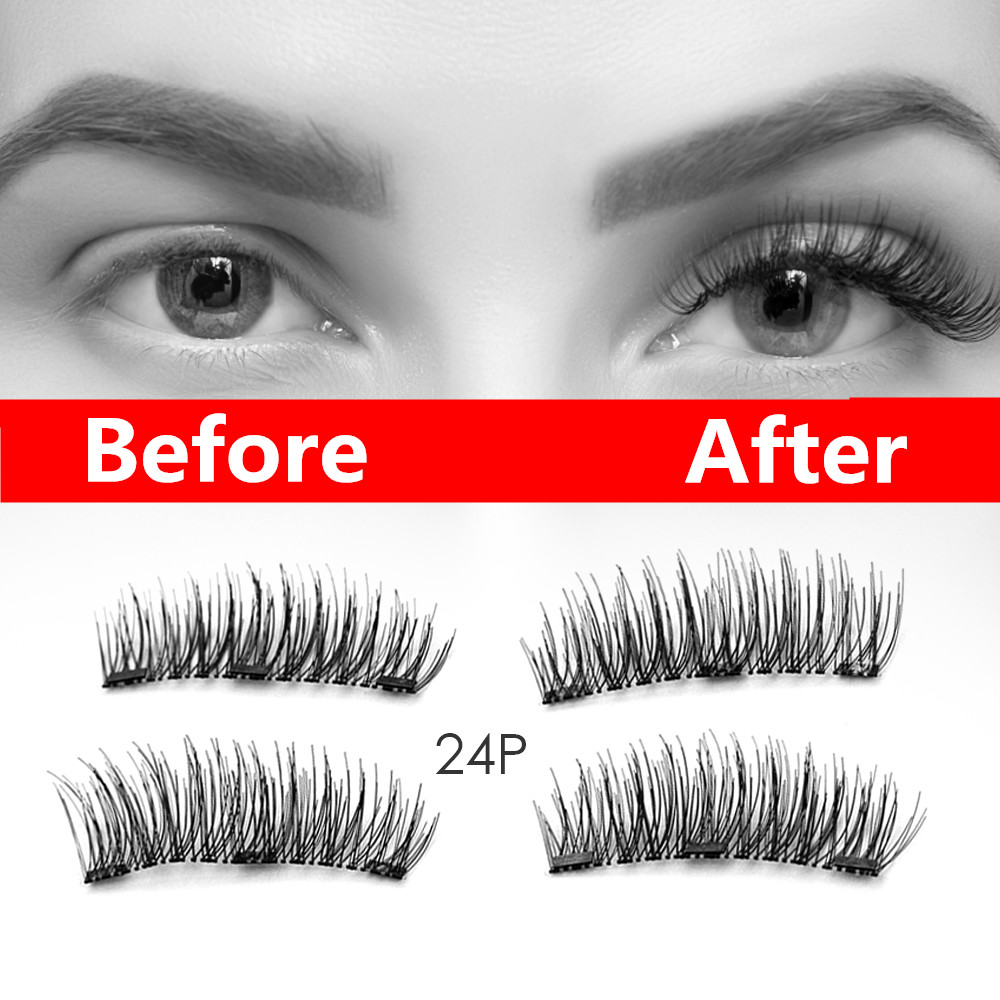 3 Magnets Genailish Eyelashes Magnetic False Natural Set Long Wearing Without Glue Long Lasting Multiple Eyelashes Applicator