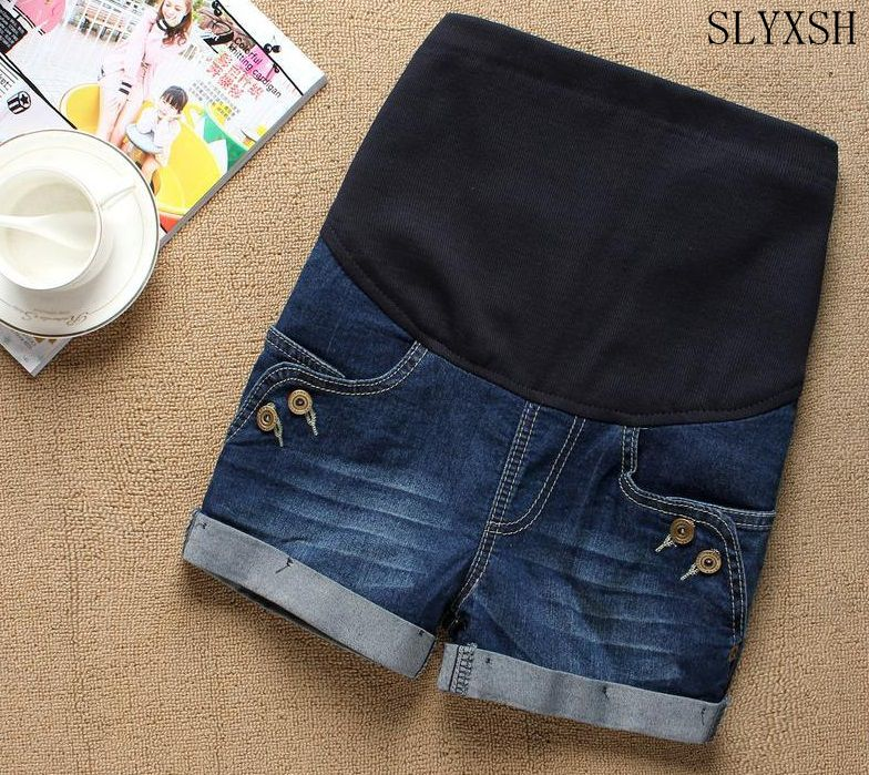 6863c3c66169d Maternity Clothes Fashion Summer Denim Maternity Elastic Waist Pregnant  Shorts Jeans for Pregnancy Fashion Belly Shorts